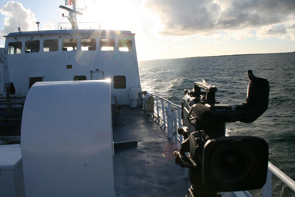 Retour avec la navette depuis l'île d'Ouessan