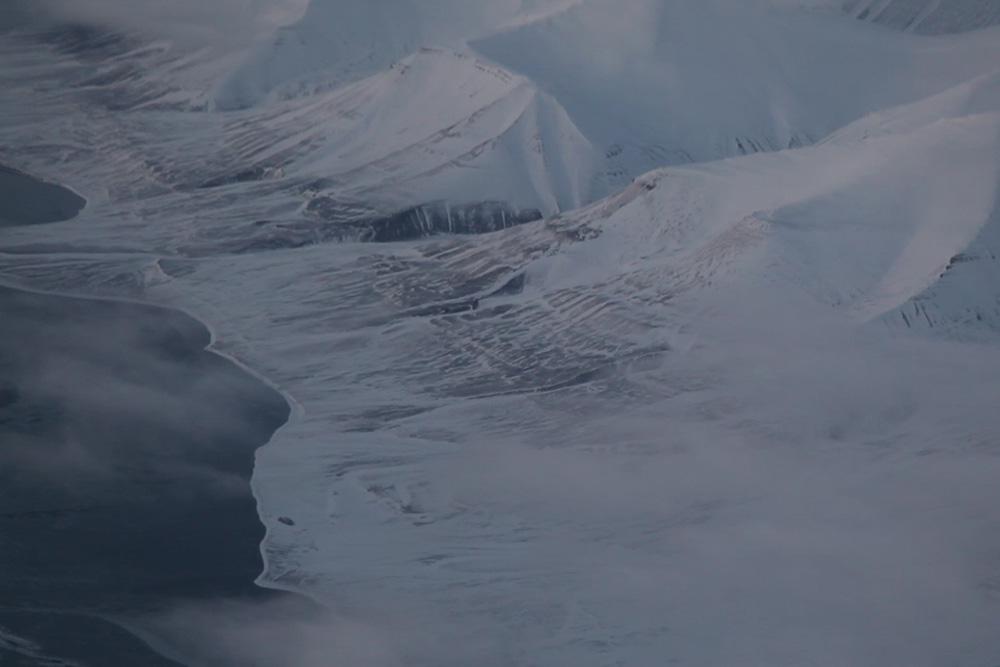 This image shows what we discover when we arrive above Svalbard, early February
