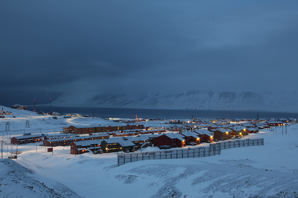 "Longyearbyen, the world's most northerly city of the world, Svalbard's ""capital"", population: 2,000"