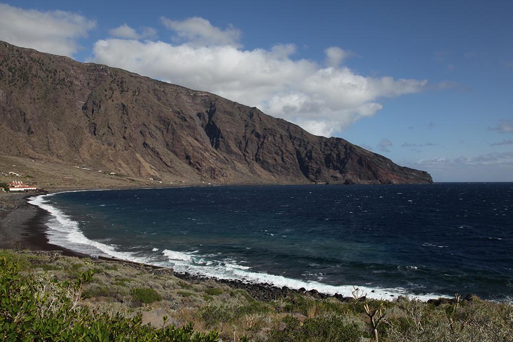 A black sand beach on the secret island of El Hierro