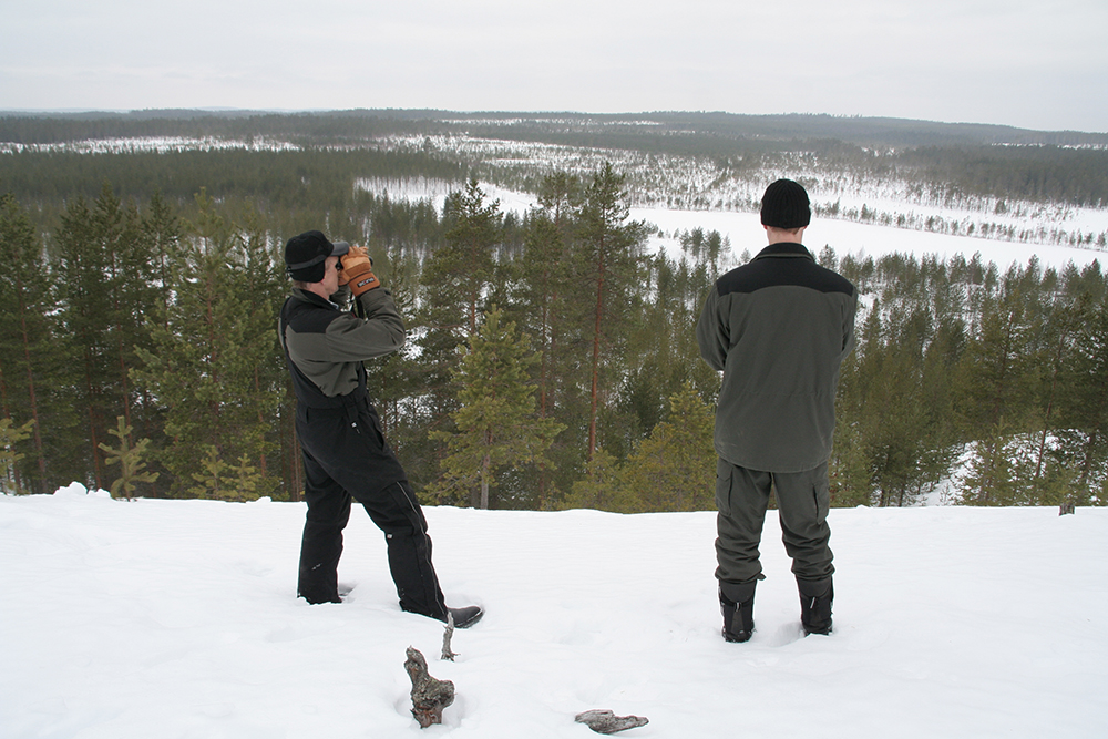 Kauko and his son looking for reindeer